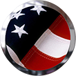 American flag button with chrome frame