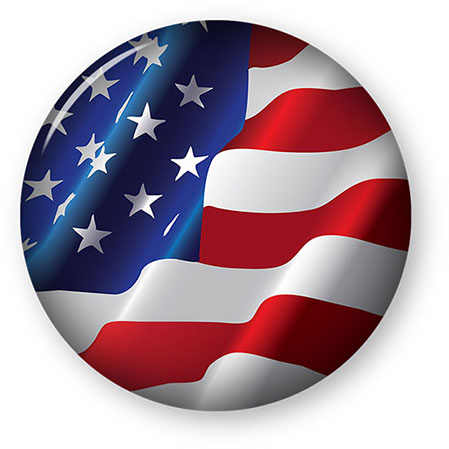 large American Flag button round