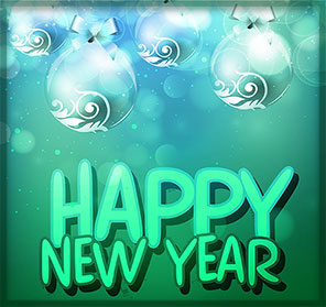 happy new year blue and green