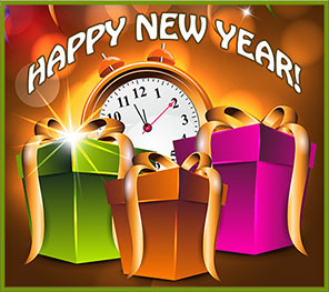 Happy New Year with clock