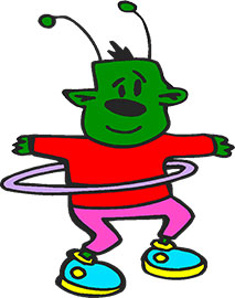 alien with hula hoop