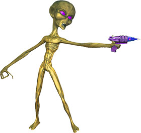 space alien with a ray gun