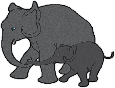 baby elephant and mother clipart