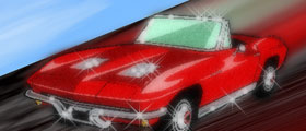 red corvette graphic - sports car