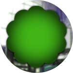 green glass button with frame design