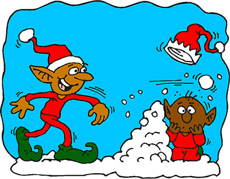 elves snowball fight