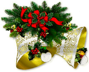 bells with ribbons holly and berries animated bells - Christmas Animated Images