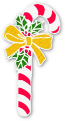 candy cane with gold ribbon