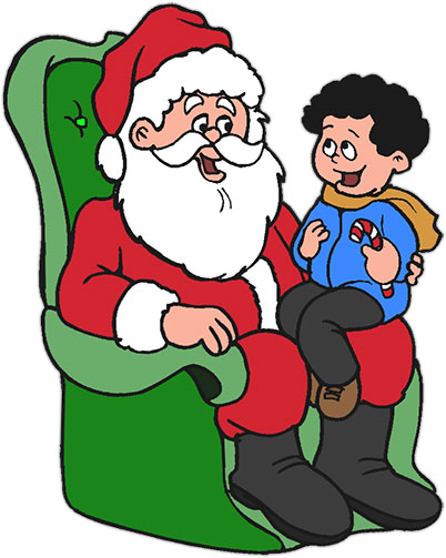 Free Christmas Clipart - Girl On Santa's Lap