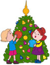 children decorating the Christmas Tree