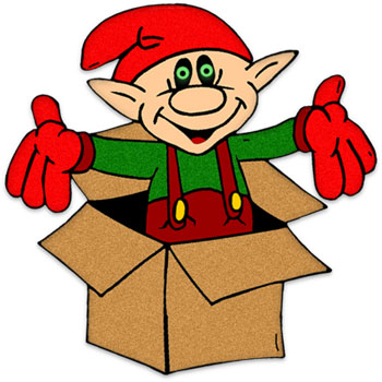 Christmas Elf in a box clipart image