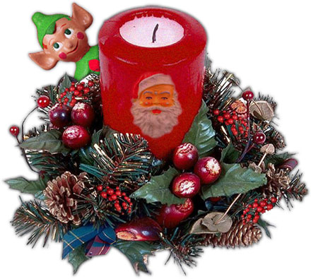 christmas arrangement with santa elf candle holly pine cones - Animated Christmas Elves Decorations