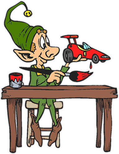 elf making a toy car
