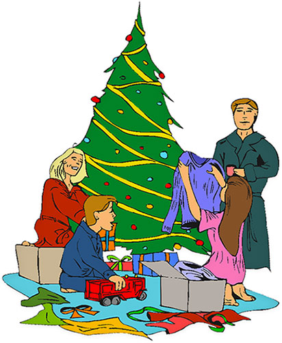 Free Christmas Clipart - Opening Christmas Presents