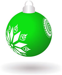 green ornament with snowflakes