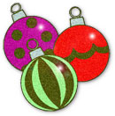Christmas ornaments various colors including red and green