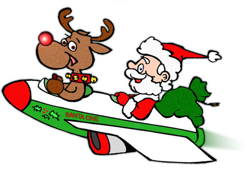 Santa and Rudolph in their modern sleigh