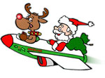 Santa and Rudolph in sleigh