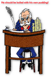 scrooge at his desk clipart