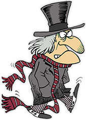 Scrooge walking