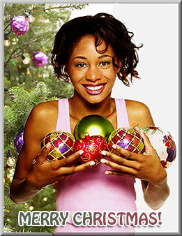 woman with Christmas ornaments