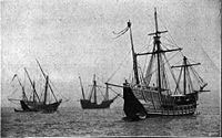 Columbus's fleet at anchor JPG file