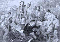 Christopher Columbus surrounded by Indians in the New World