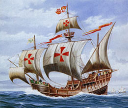Columbus ship in high seas