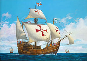 Christopher Columbus ships on the high seas