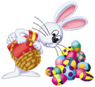 Easter bunny with big load of colored eggs
