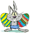 Easter bunny and colored eggs gif image