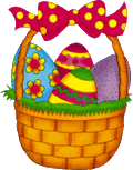 easter basket with colored eggs and brightly colored ribbons - png