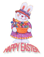 Easter bunny with big basket of colored eggs, gif