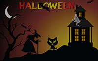 witch, ghost, black cat and haunted house