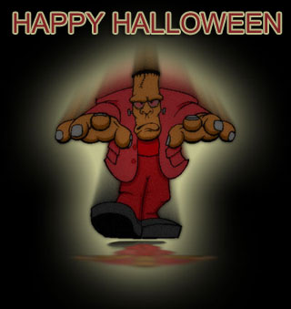 happy halloween clipart with frankenstein