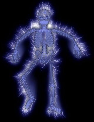 skeleton clipart blue and white on black