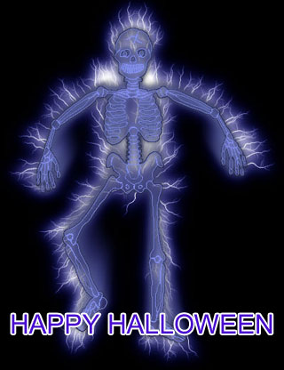 happy halloween clipart with skeleton