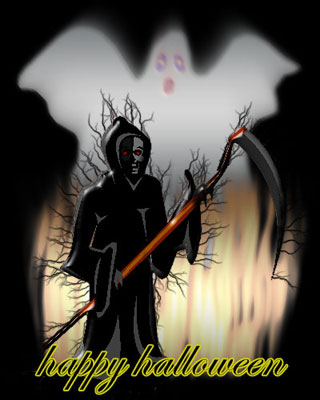 happy halloween clipart - ghosts and grim reaper