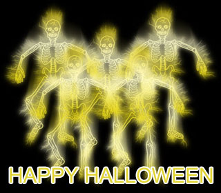 happy halloween clipart with ghosts and skeletons