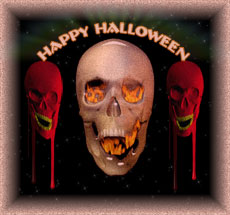 happy halloween 3 skulls and dripping blood