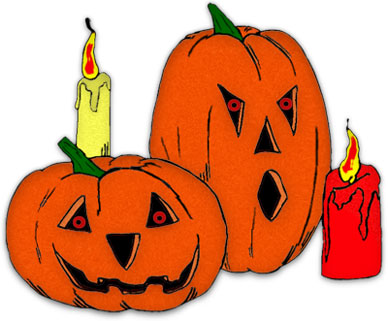 spooky jack-o-lanterns with burning candles