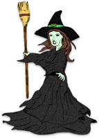 witch standing holding her broom