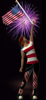 woman with American flag on black with fireworks