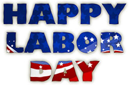 Labor Day sign red, white and blue