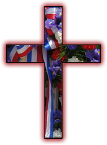 Memorial Cross with ribbons and flowers