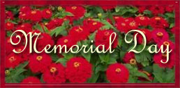Memorial Day with red and green flowers
