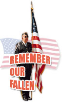 remember our fallen with flag and veteran