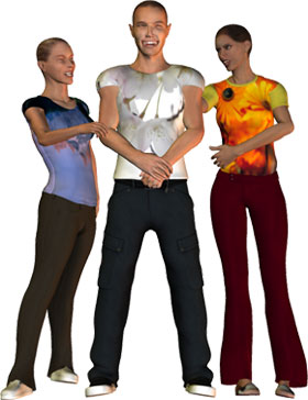 man and 2 women with brght colored clothes
