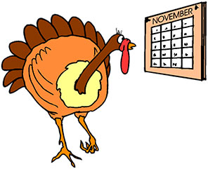 turkey with november calendar