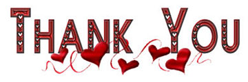 Thank You with red hearts